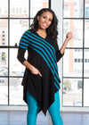 "Malinda is modeling the XS teal striped tunic. She has a 36"" Bust, 26"" Waist, 36"" Hip and is 5'3""."
