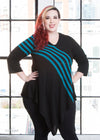 "Katie Lynn is modeling the 2X teal striped tunic. She has a 48"" Bust, 39"" Waist, 52"" Hip, and is 5'8""."