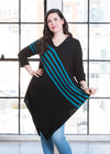"Devan is modeling the M teal striped tunic. She has a 40"" Bust, 31"" Waist, 42"" Hip, and is 5'8""."