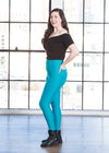 "Devan is modeling the Medium teal high waisted leggings. She has a 40"" Bust, 31"" Waist, 42"" Hip, and is 5'8""."