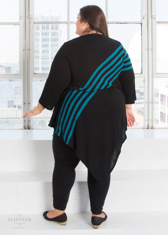 Essential Striped Knit Tunic - Black & Teal