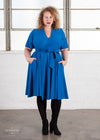 - Retired Essential Flutter Midi Wrap Dress - Cerulean