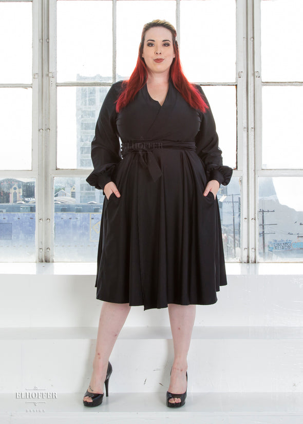 - Retired Essential Bishop Sleeve Wrap Dress - Black