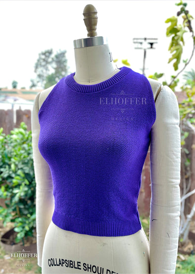Essential Susan Crop Top - Purple Chevron