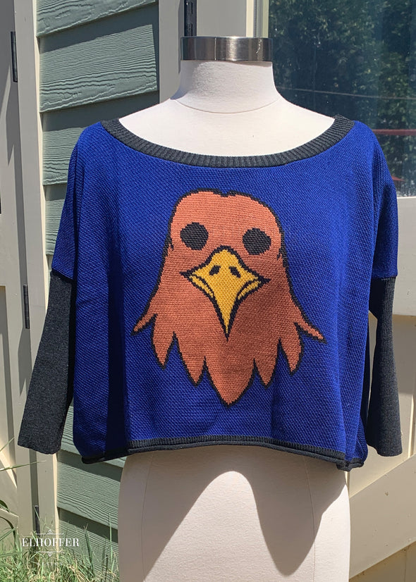 A cobalt blue oversized cropped sweater with gray sleeves and gray ribbed neckling and brown eagle head with yellow beak on the front.