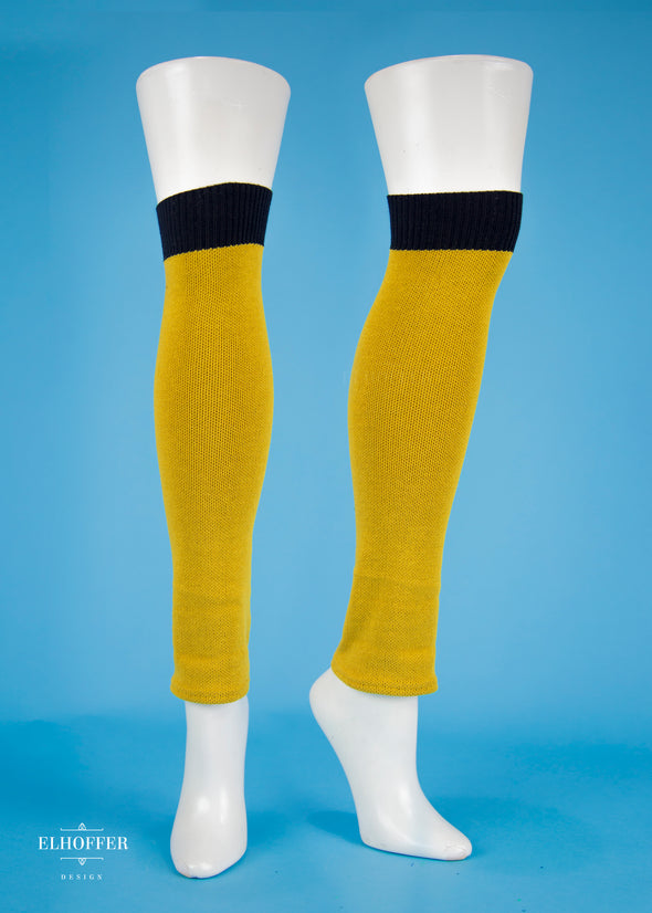 S - No Badger, Sold Mustard with Black Ribbing on One End - Badger Sigil Leg Warmers