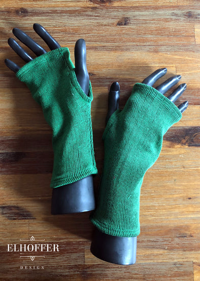 No Rib - Green Fingerless Gloves