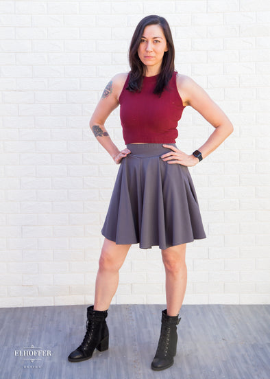 Essential Pleated Skater Skirt - Gunmetal