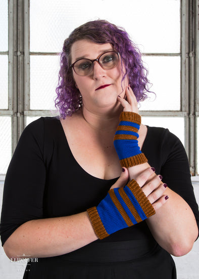 One - Wisdom Bronze Striped Fingerless Gloves