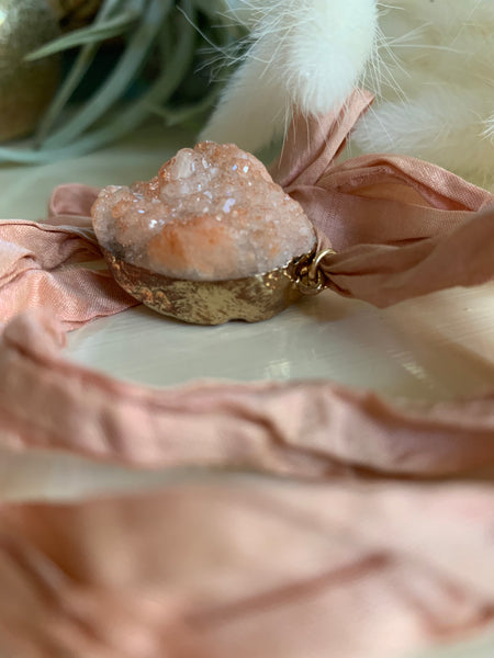 Dusty Rose Quartz Recycled Sari bracelet