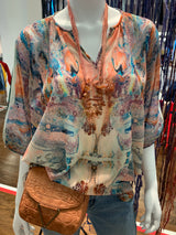 Butterfly Coral Blouse-Sold out BUT can be ordered.
