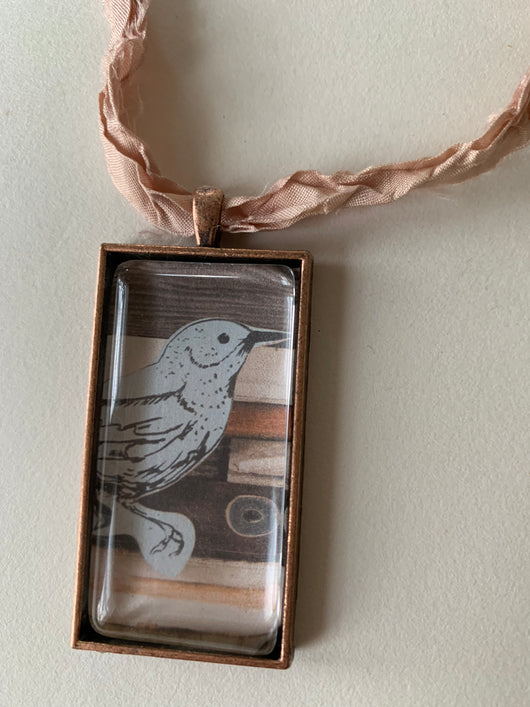 Sparrow Recycled Glass Art Necklace