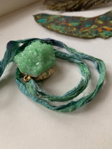 Peacock green crystal recycled sari ribbon bracelet