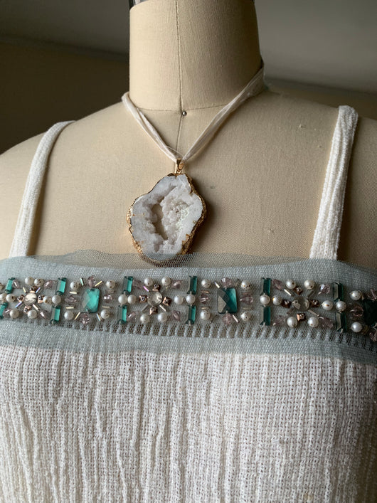 White crystal agate necklace with recycled sari ribbon