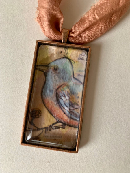 Blue Bird Necklace Recycled Sari ribbon