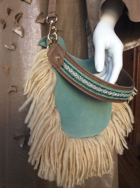 Mini Cocoon with Indian beaded handle wool fringe