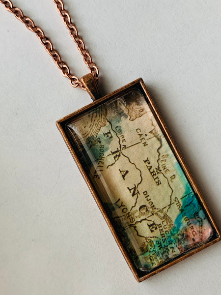 """Paris"" France vintage map Recycled Glass Necklace"
