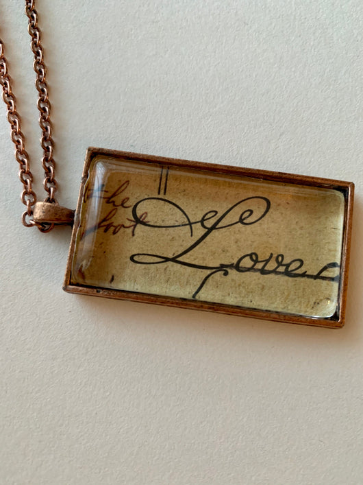"""Love"" Recycled Art Necklace"