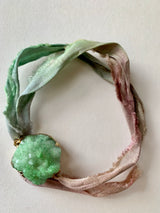 Unicorn Rainbow recycled sari ribbon Bracelet with green quartz