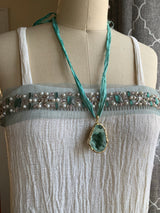 Agate necklace with recycled sari ribbon necklace