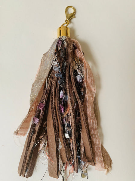 Mink leather Boho bag charm