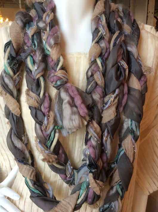 Recycled Sari Braided Yarn Scarf- Grey