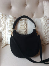 Black Suede Shearling Mini Cocoon