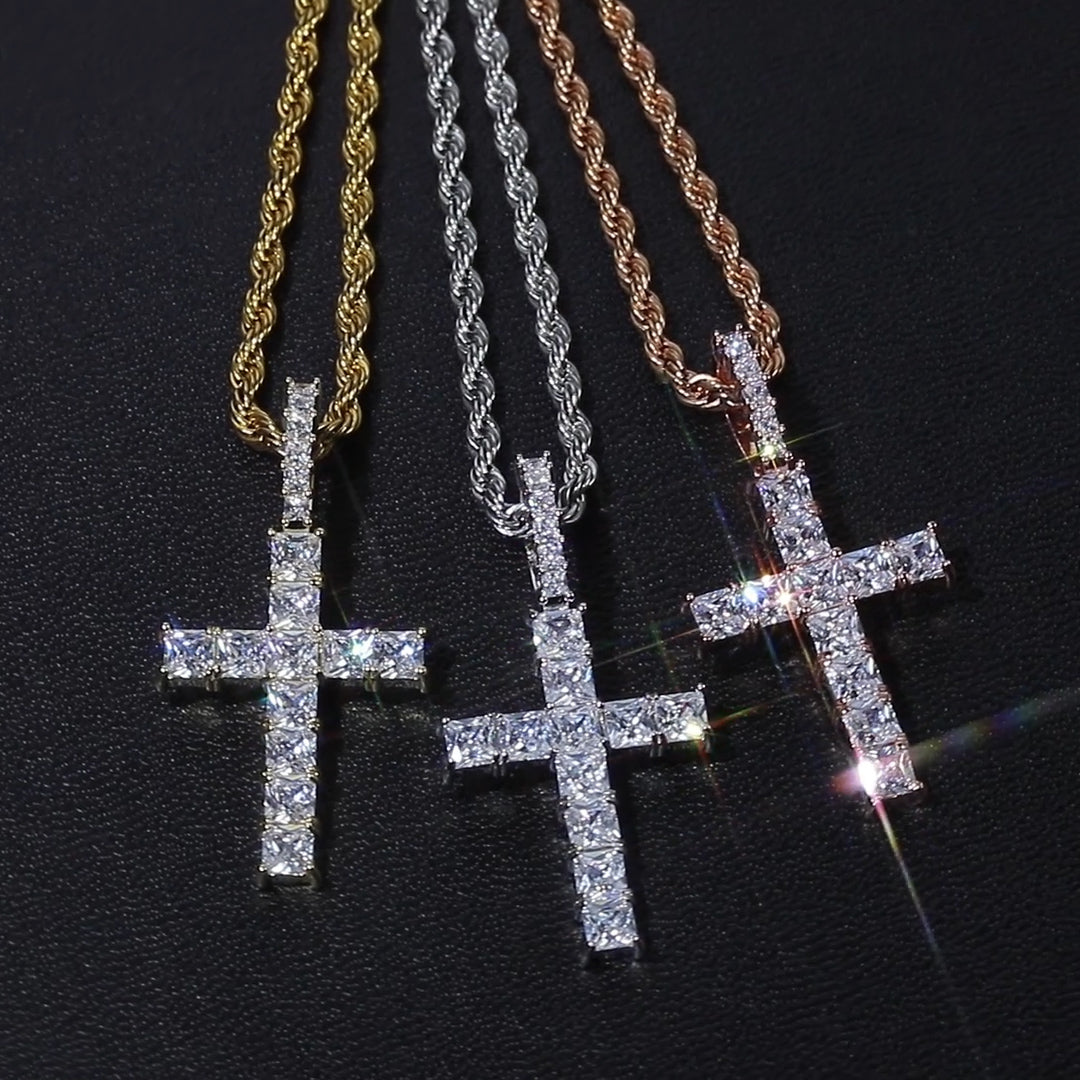 Princess Cut Cross Necklace
