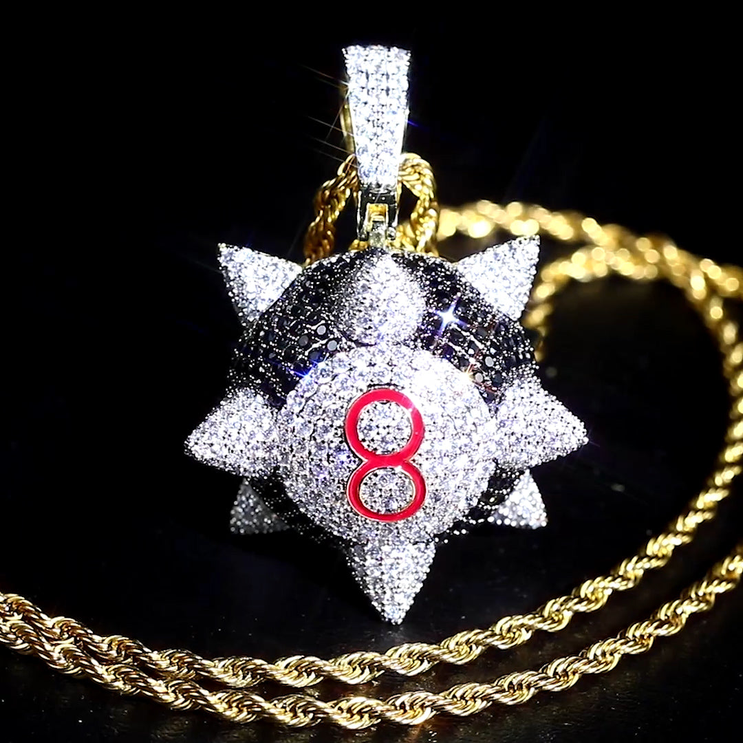 Spiked 8 Ball Necklace