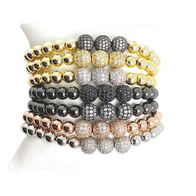 Gwen's 3 Pave Beaded Stretch Bracelet