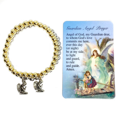 3-D Guardian Praying Angel Beaded Bracelet