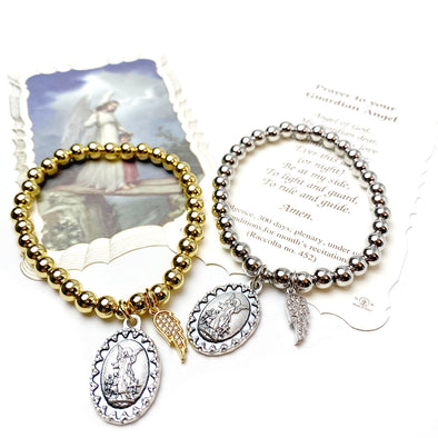 Guardian Angel & Wing Beaded Bracelet