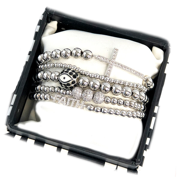 Angelina's Faith Stack Of Silver Beaded Bracelets