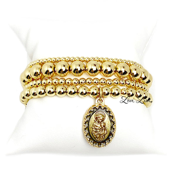 St. Anthony Beautiful Silver or Gold Beaded Bracelet