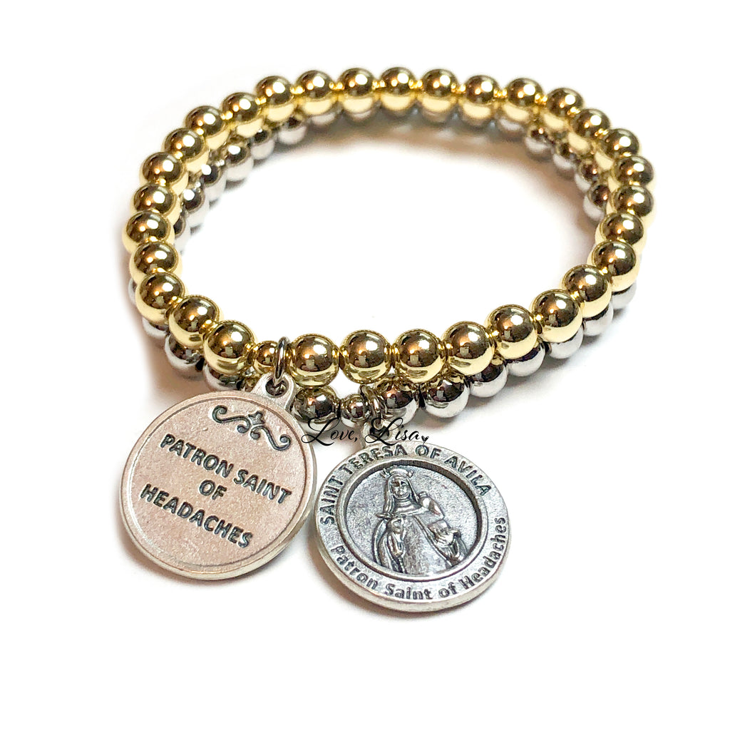 St. Teresa of Avila (Patron Saint Of Headaches) Beaded Bracelet