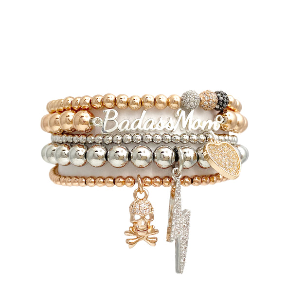 Avery's Bad@ss Mom Beaded Bracelet Stack