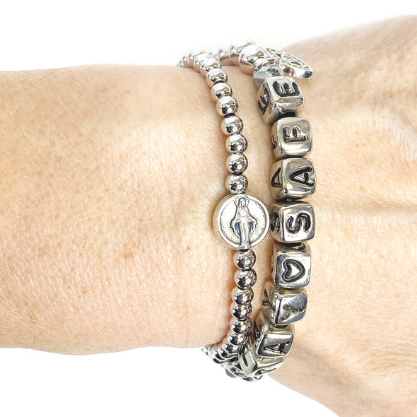 Blessed Mother Miraculous Subliminal Beaded Bracelet