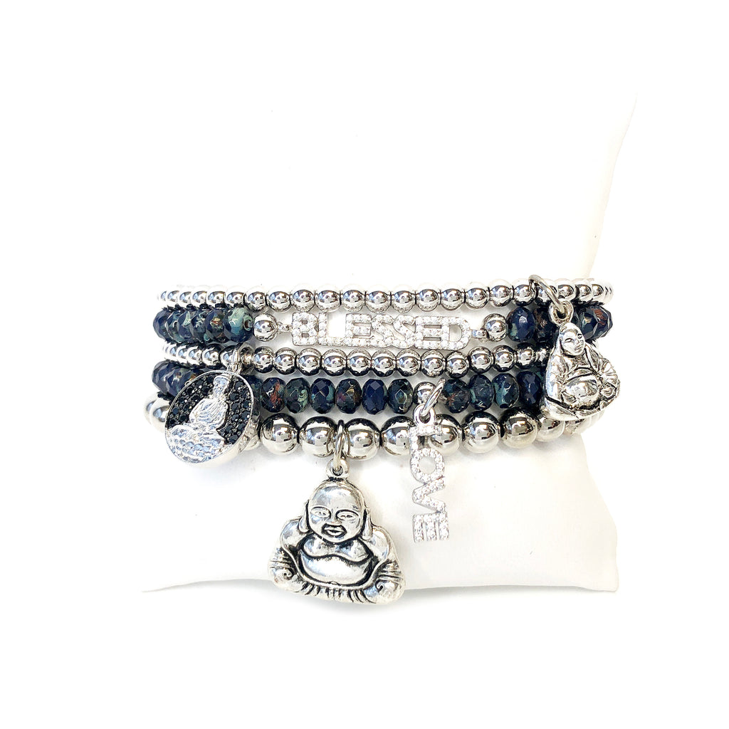 Blessed Buddha Stack Of Beaded Bracelets