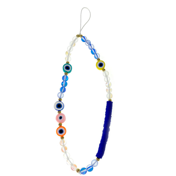 Maria's Blue Evil Eye  Beaded Phone Strap