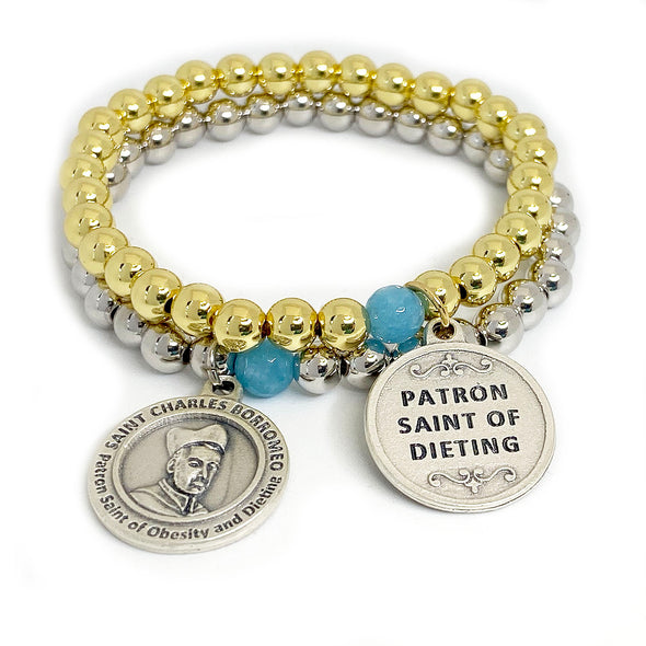 Silver & Gold St. Charles Patron Saint of Dieting Beaded Bracelet