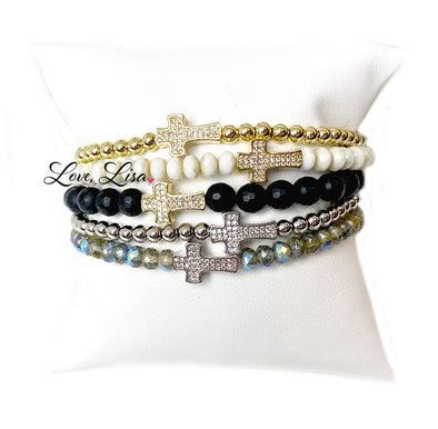 Christine's Sparkling Cross Beaded Bracelet
