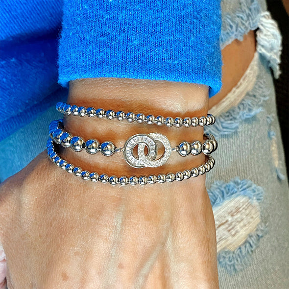 Exclusive Together Forever Diamond & Baguette Beaded Bracelet
