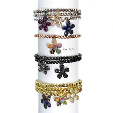 Charlotte's Charming Flower Beaded Stretch Bracelet