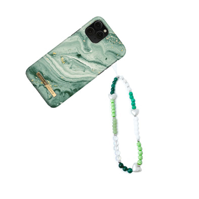Geri's Green Heart Beaded Phone Strap