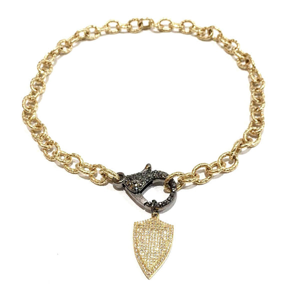 Golden Link Pave Lobster Clasp Necklace With A Shield
