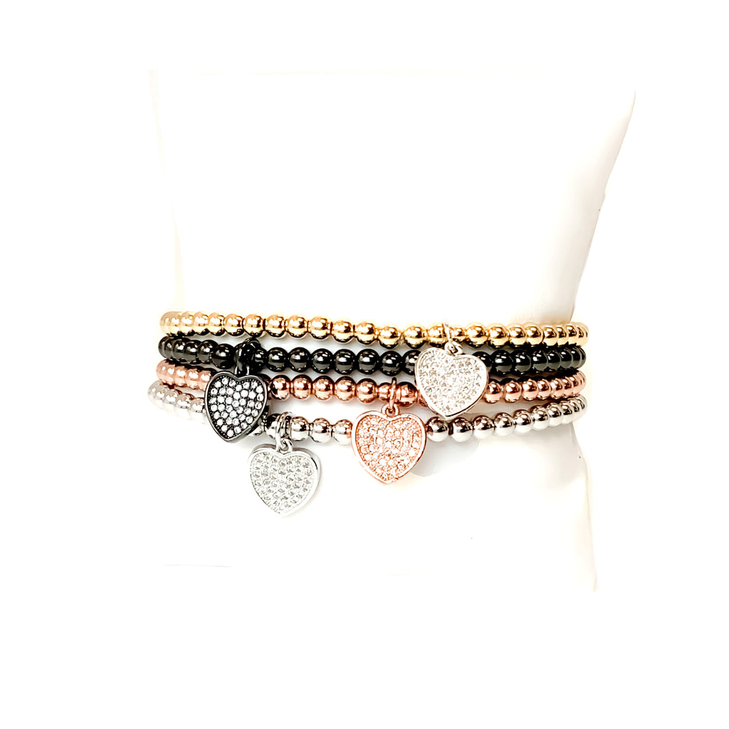 The Sweetest Little Heart Charm Beaded Bracelet