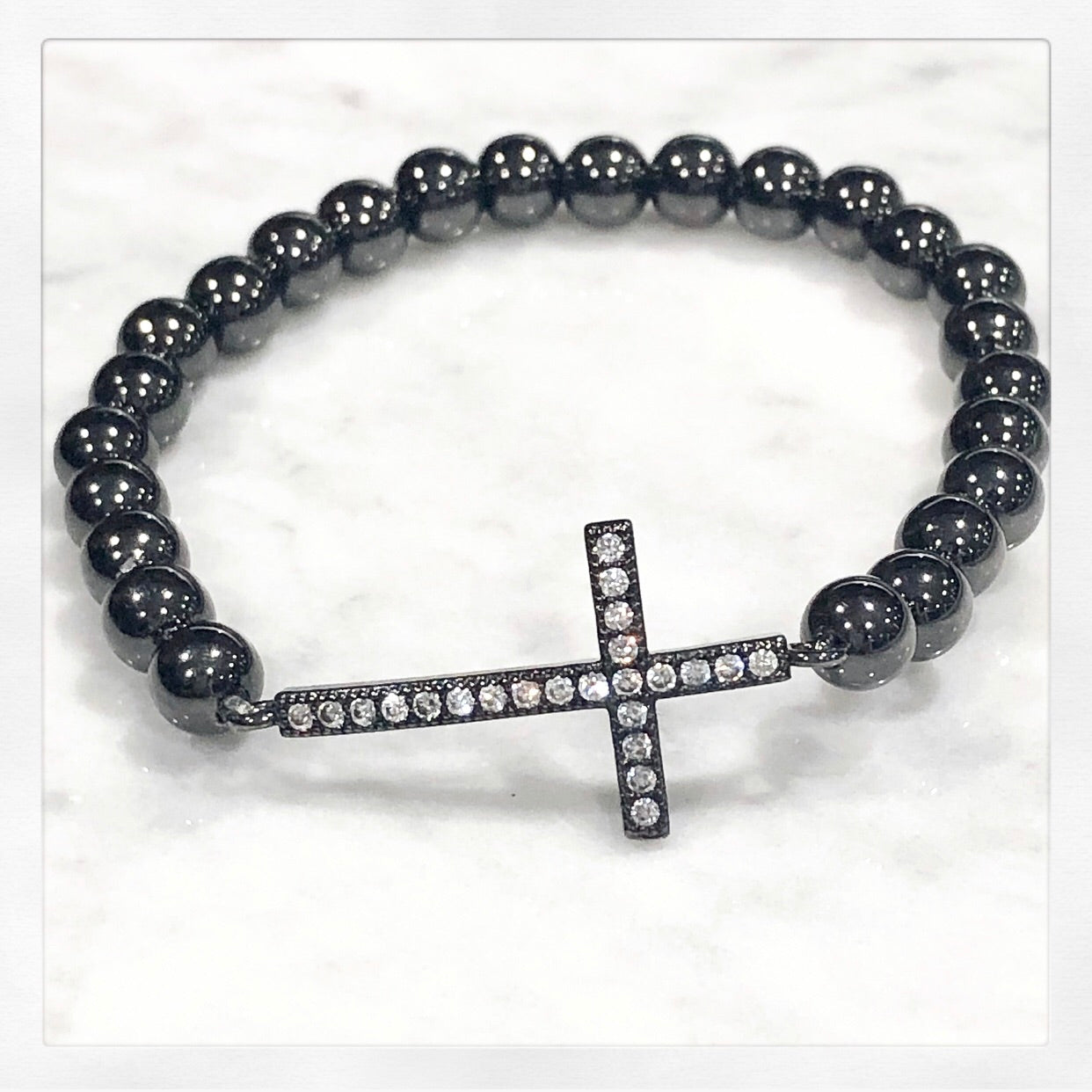 #1 Stretch Diamond Cross Bracelet