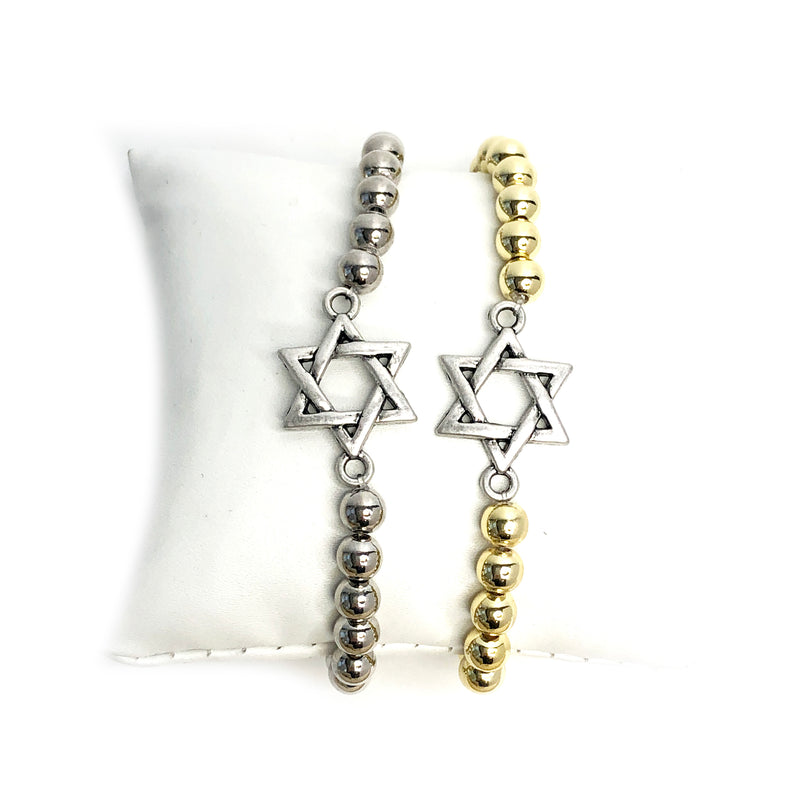 Antique Matte Jewish Star Beaded Bracelet