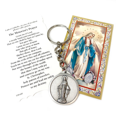 Miraculous & St. Christopher Stay Safe Keychain