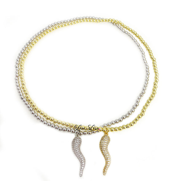 Simply Stunning Pave Horn Choker Necklace